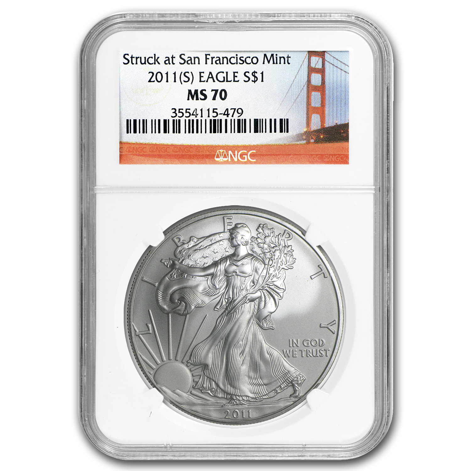 2011 (S) Silver American Eagle MS-70 NGC (Golden Gate Bridge)