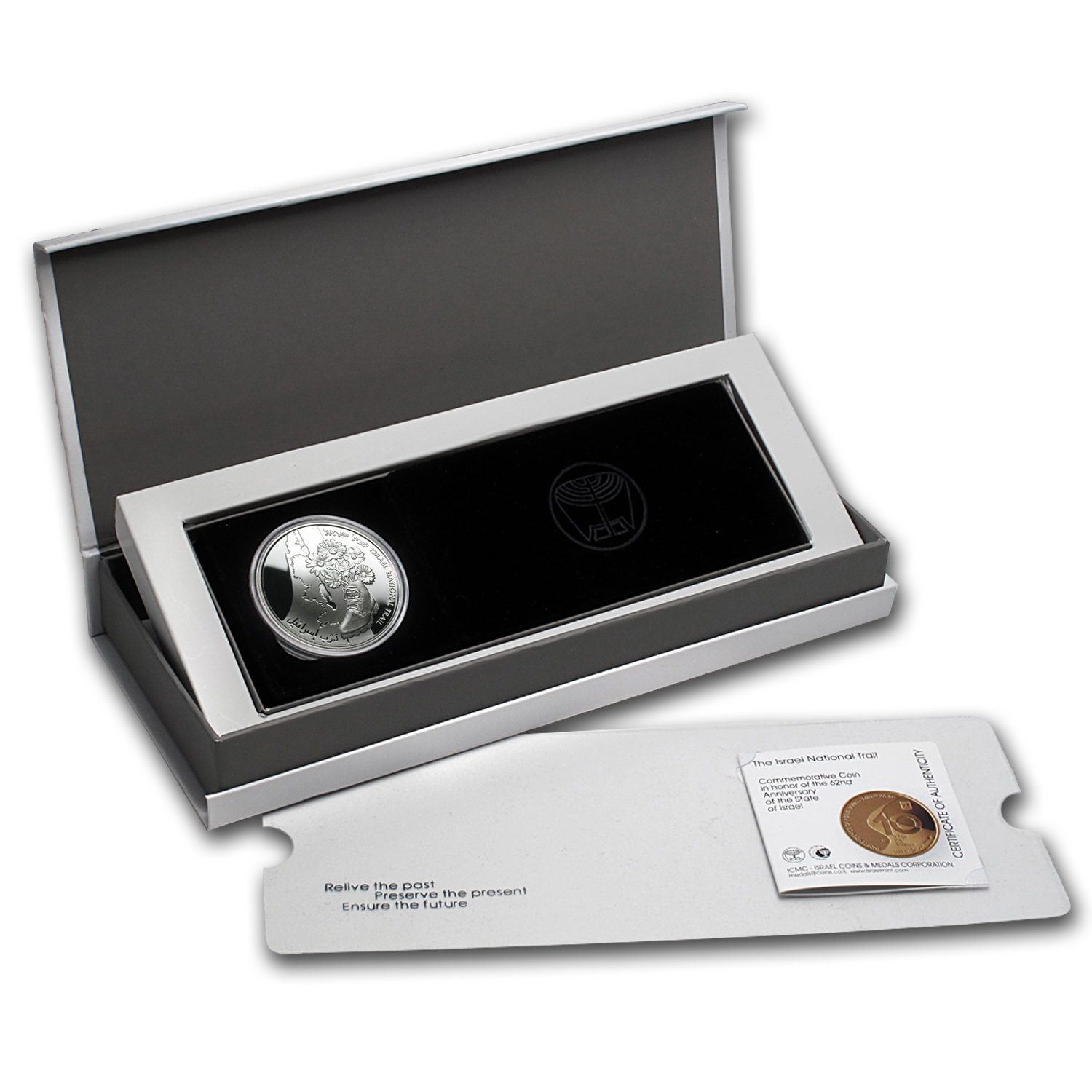2010 Israel National Trail Proof Silver 2 NIS Coin (w/ box & coa)