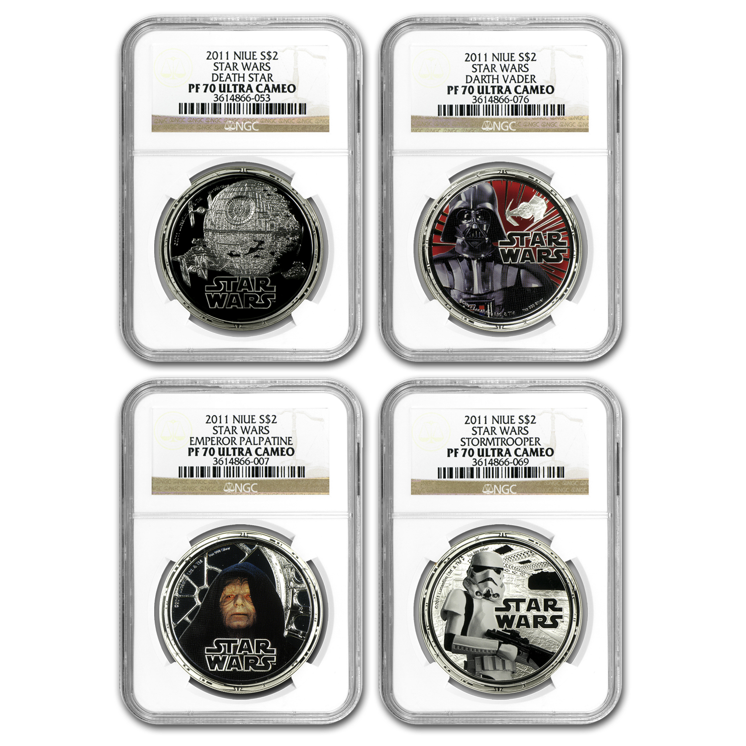 2011 Niue 4-Pc 1 oz Silver $2 Star Wars Set PF-70 NGC (Dark Side)
