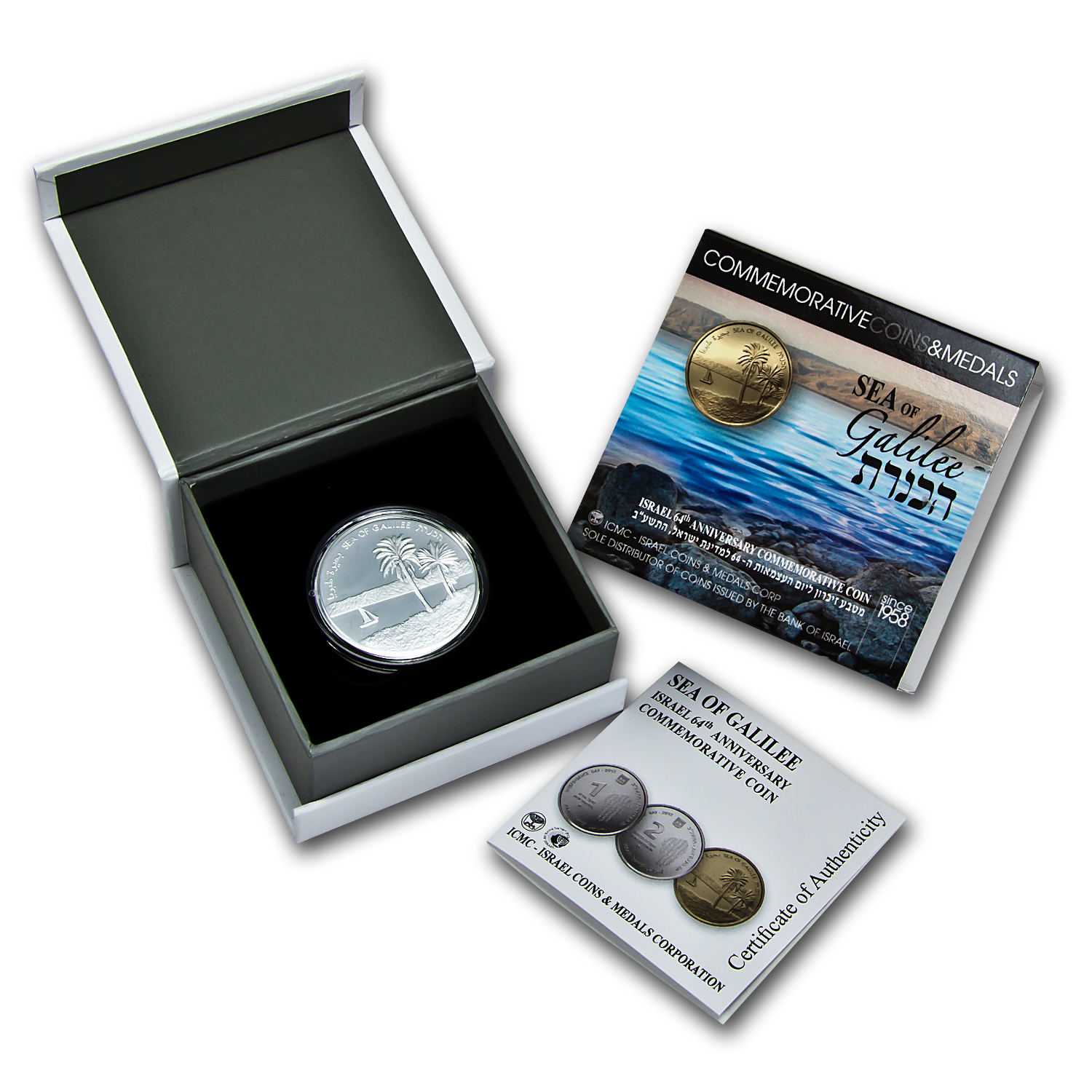 2012 Israel Sea of Galilee Silver 2 NIS Proof (w/Box & COA)