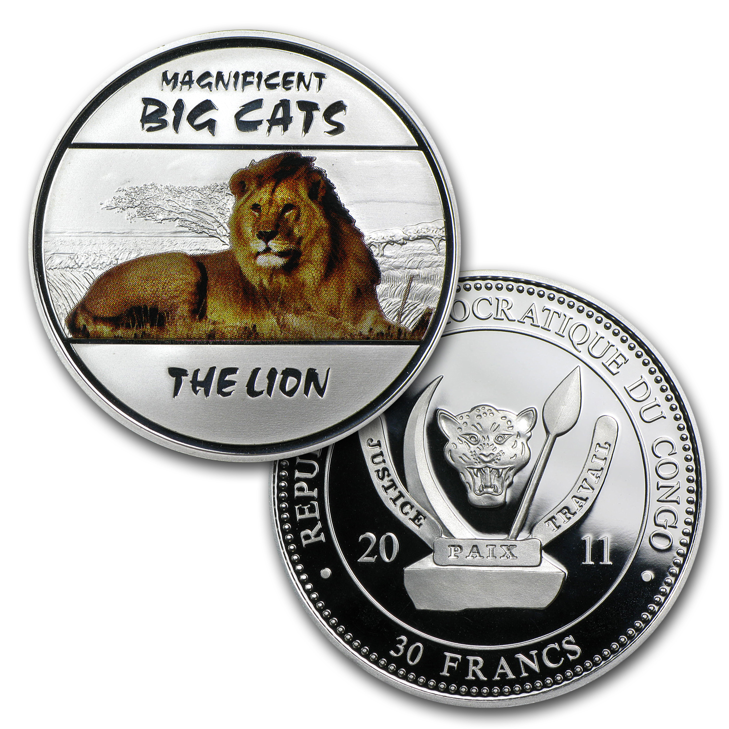 2011 Congo 4-coin Silver Magnificent Big Cats Proof Set