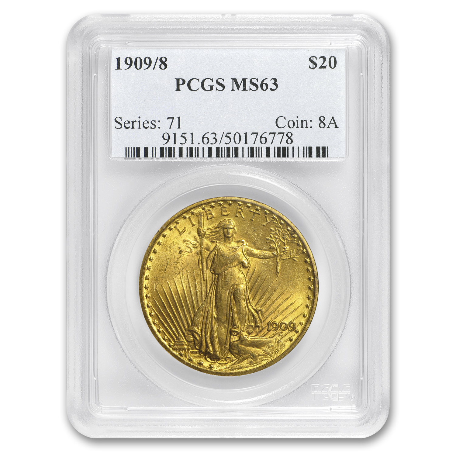 1909/8 $20 Saint-Gaudens Gold Double Eagle Overdate MS-63 PCGS