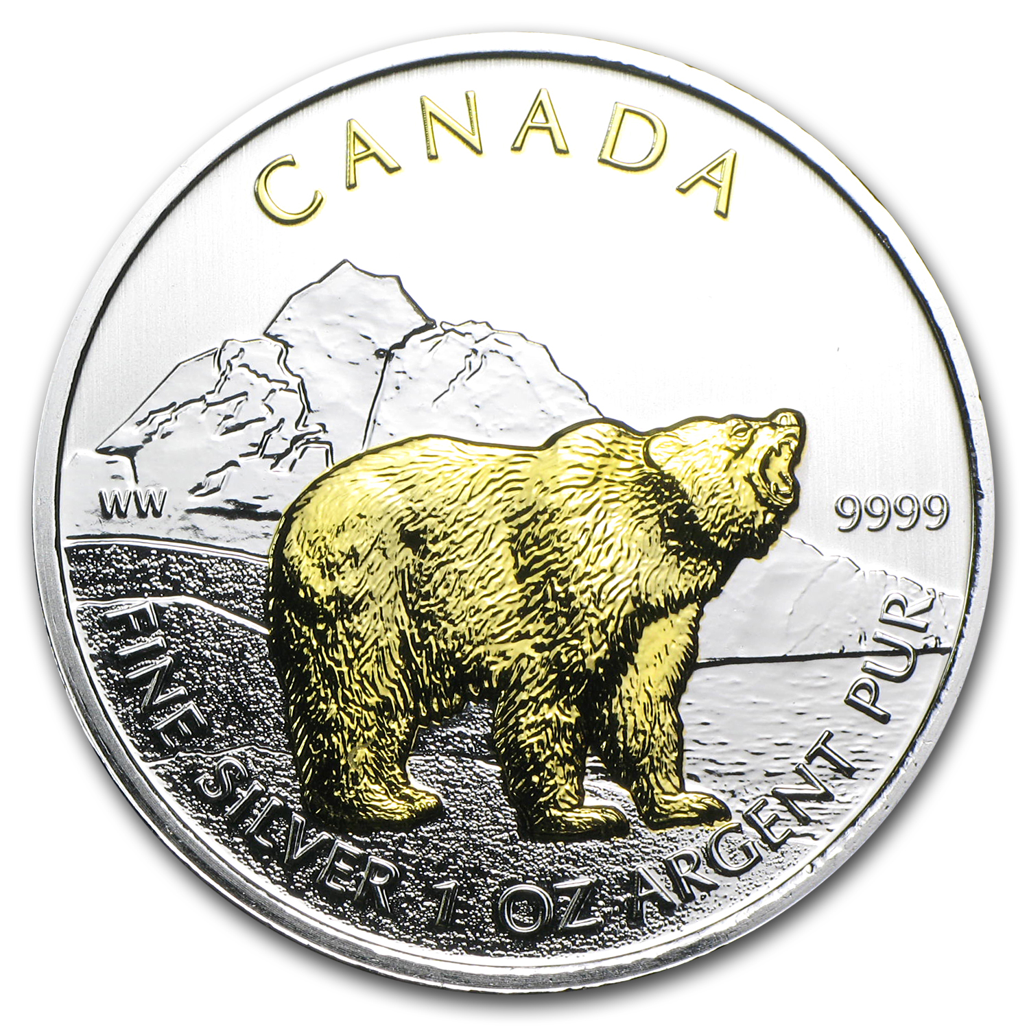 2011 Canada 1 oz Silver Wildlife Series Grizzly (Gilded)