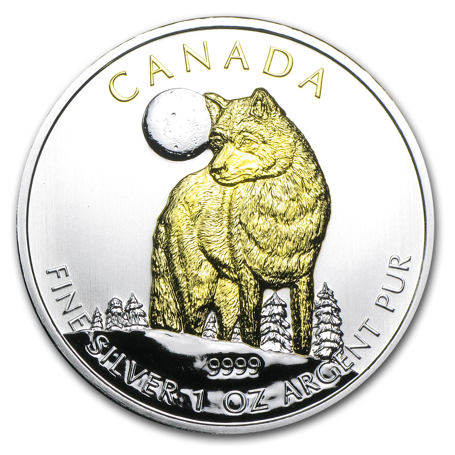 2011 1 oz Silver Canadian Wildlife Series - Wolf - Gilded