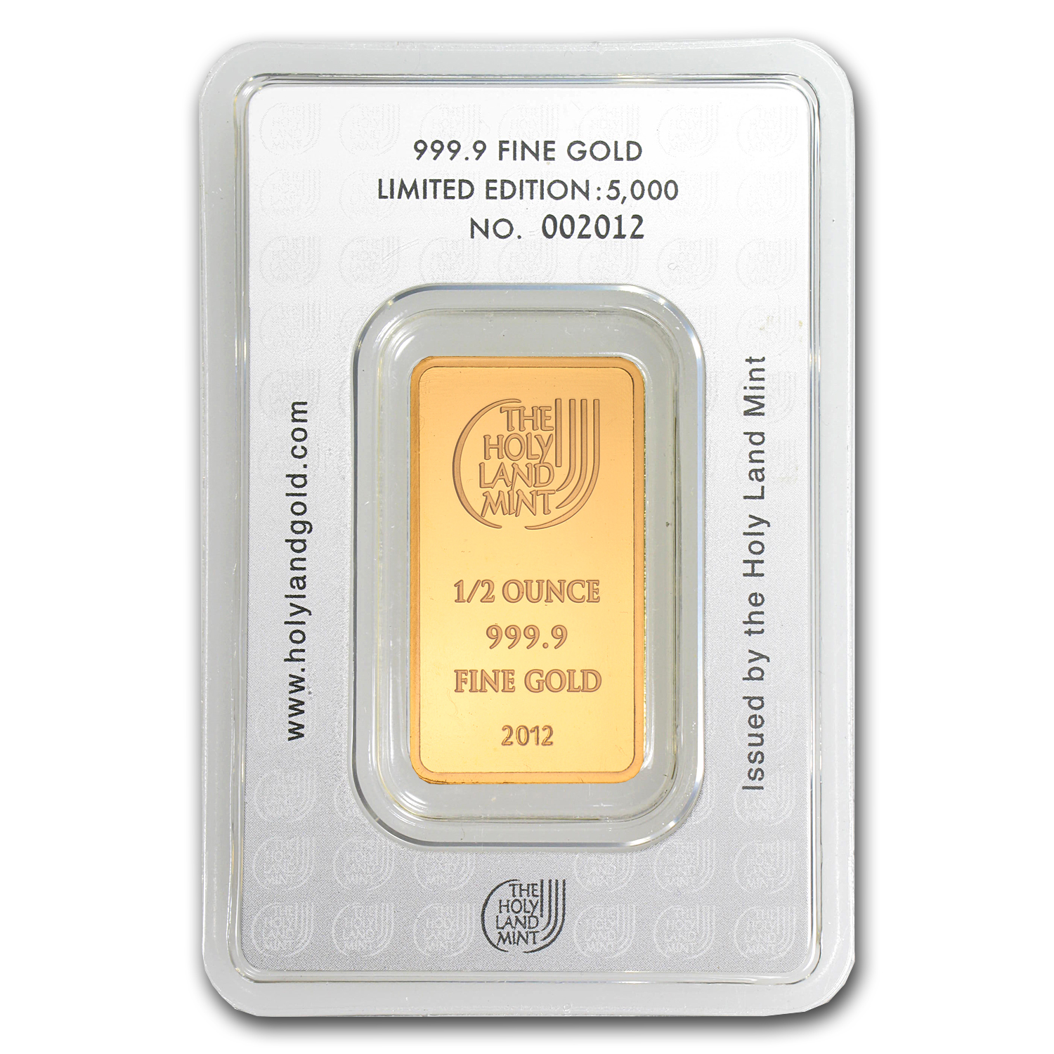 1/2 oz Gold Bar Holy Land Mint Dove of Peace (In Assay)