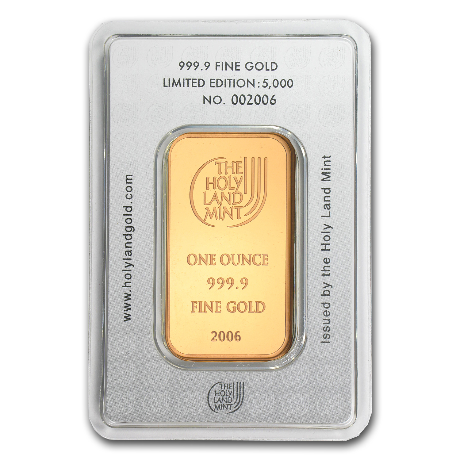 1 oz Gold Bar - Holy Land Mint Dove of Peace (In Assay)