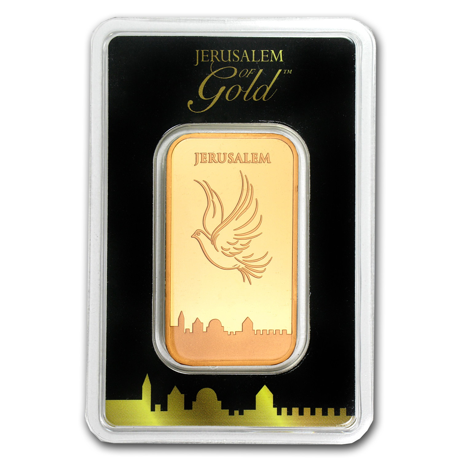 1 oz Gold Bar Holy Land Mint Dove of Peace (In Assay)