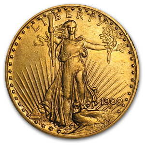 1909/8 $20 St. Gaudens Gold Double Eagle XF