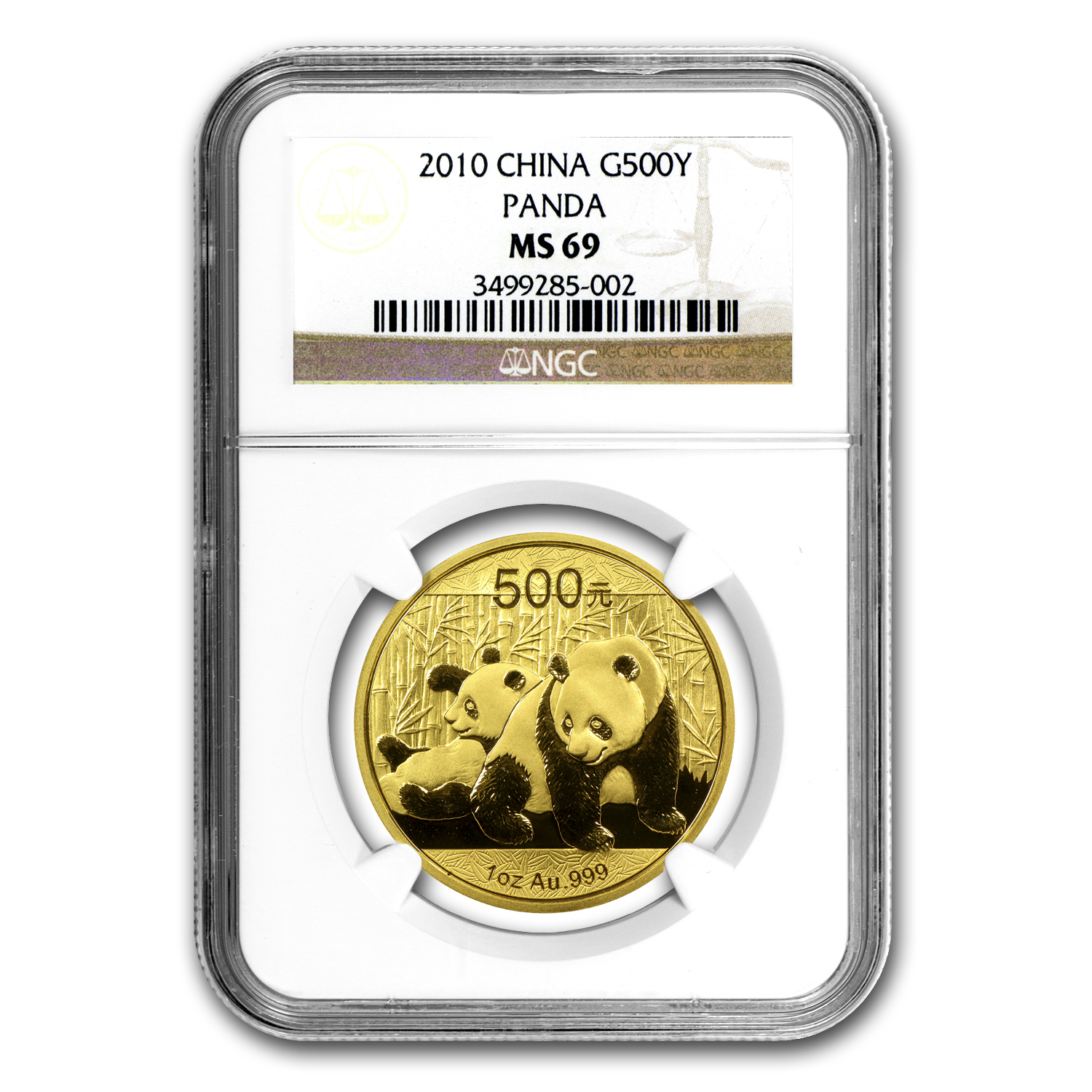 2010 China 1 oz Gold Panda MS-69 NGC