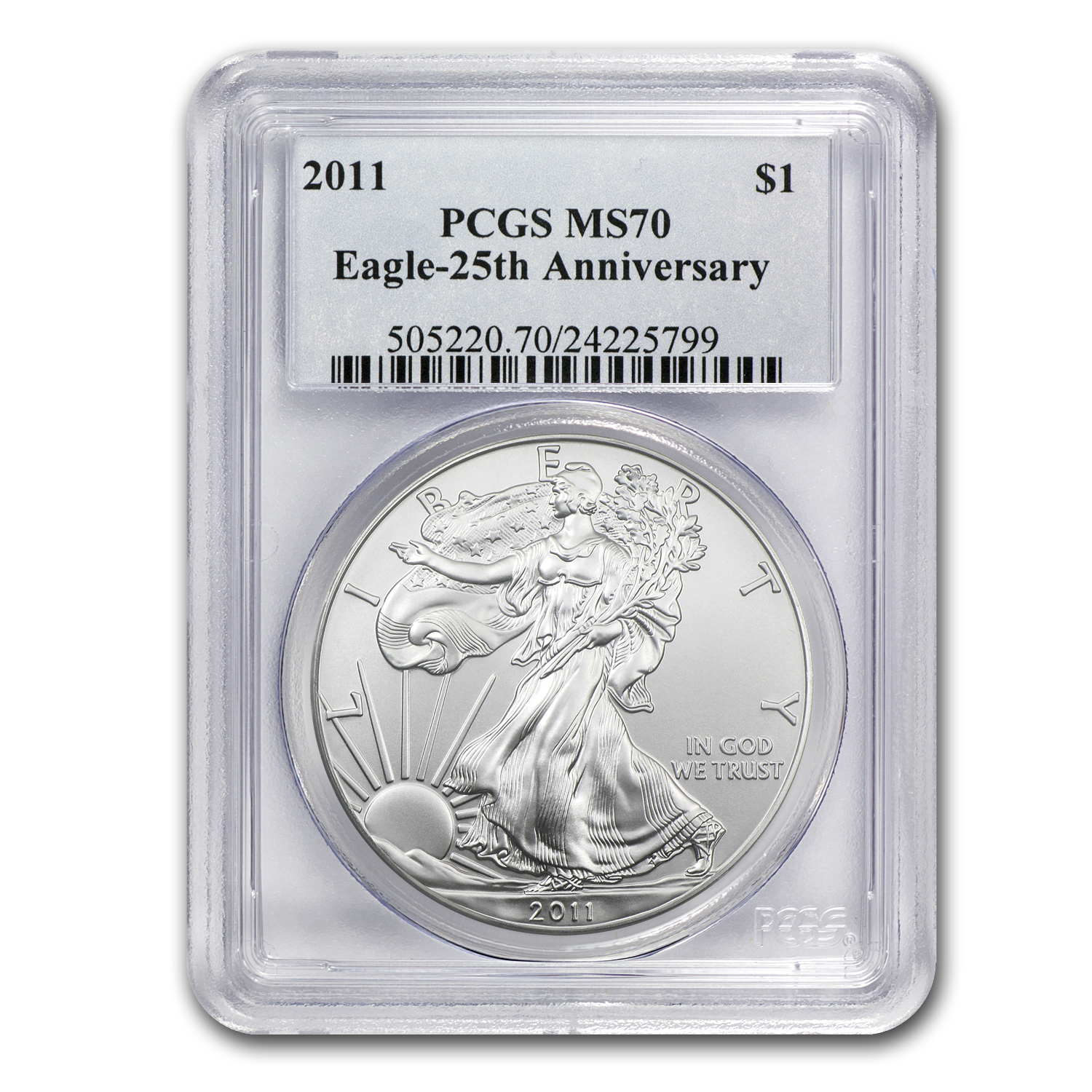 2011 Silver American Eagle MS-70 PCGS (25th Anniv)