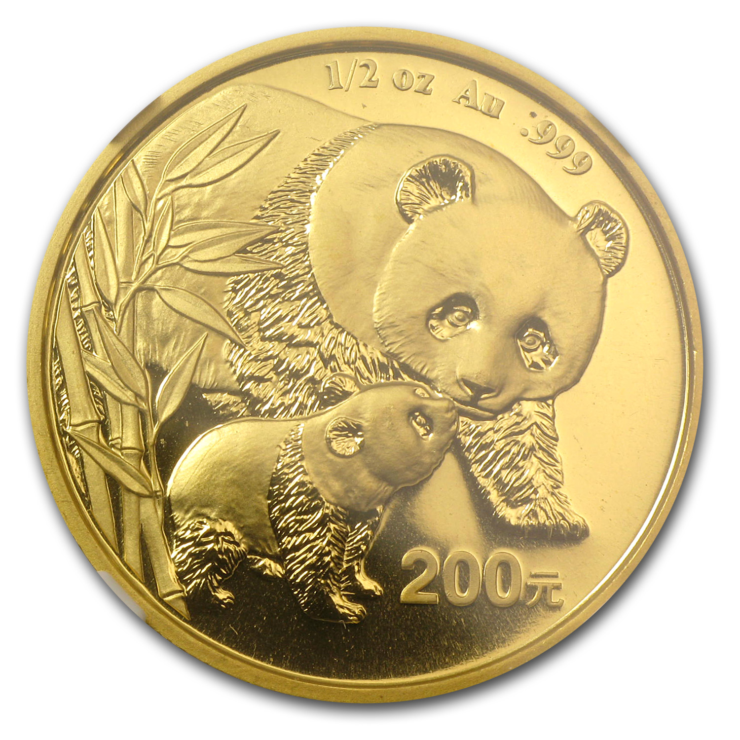 2004 China 1/2 oz Gold Panda MS-69 NGC