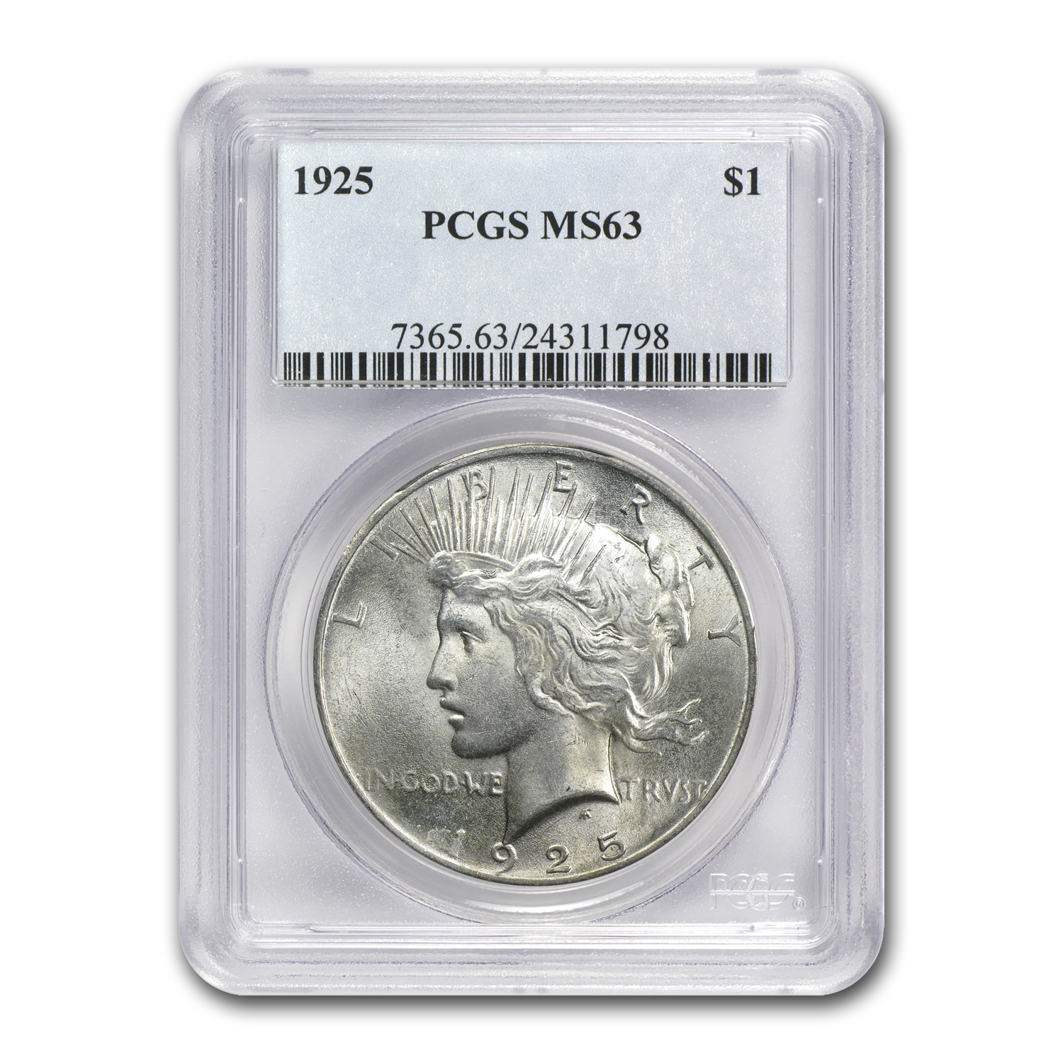 1922-1925 4-Coin Peace Dollar Date Set MS-63 PCGS
