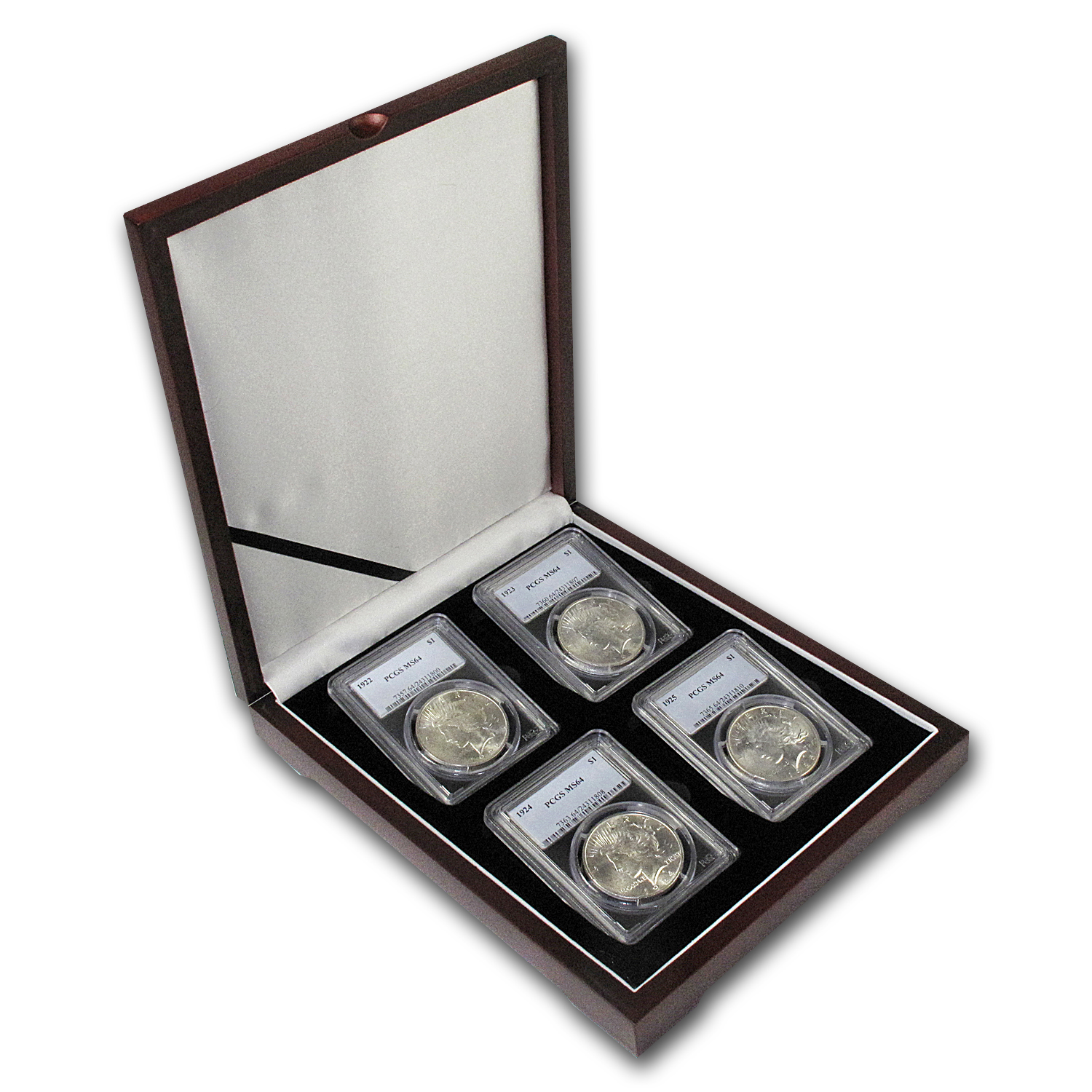 1922-1925 4-Coin Peace Dollar Date Set MS-64 PCGS