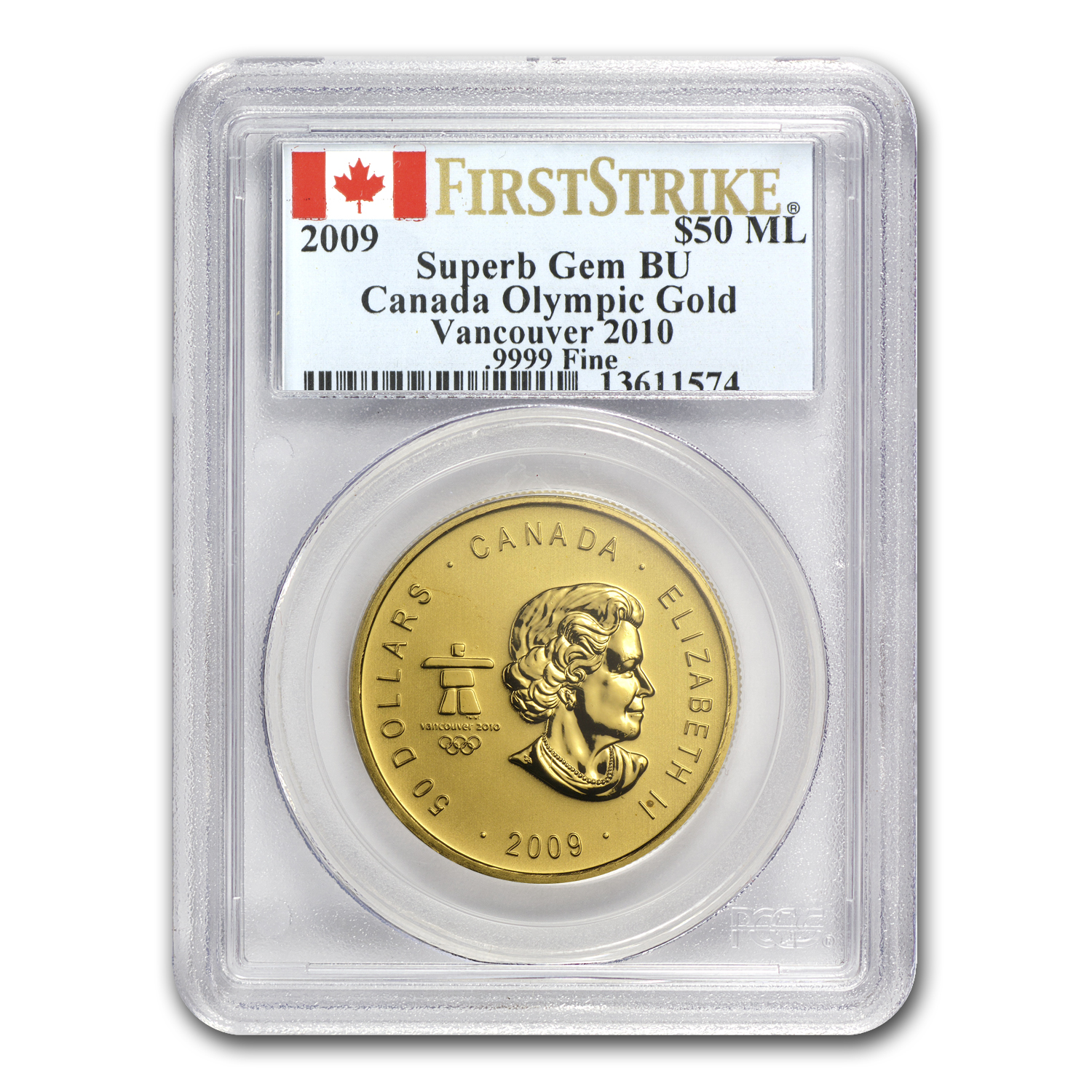 2009 Canada 1 oz Gold Maple Leaf Superb Gem BU PCGS (Vancouver)