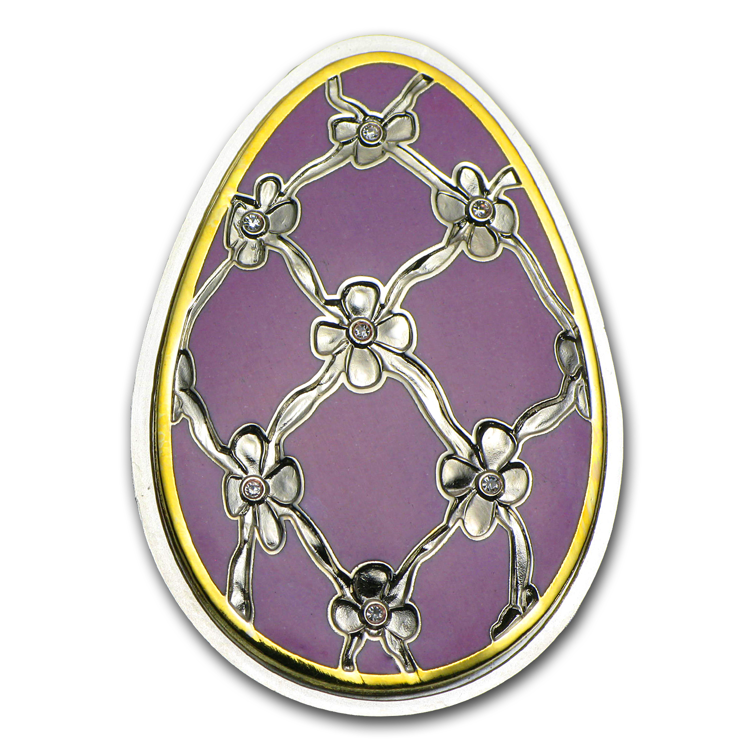 Cook Islands 2012 Proof Silver Imperial Egg in Cloisonné - Violet