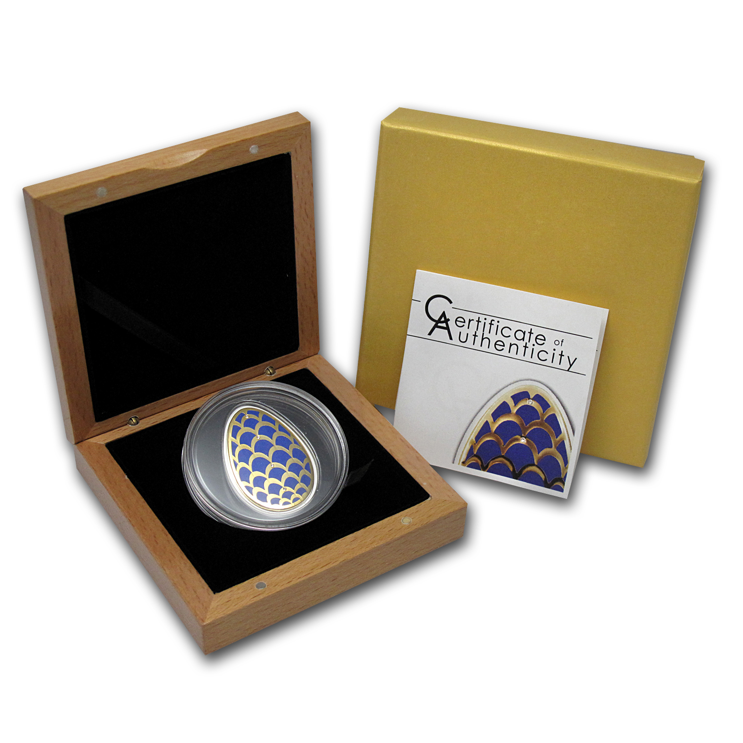 2012 Cook Islands Proof Silver Imperial Egg in Cloisonné-Pinecone