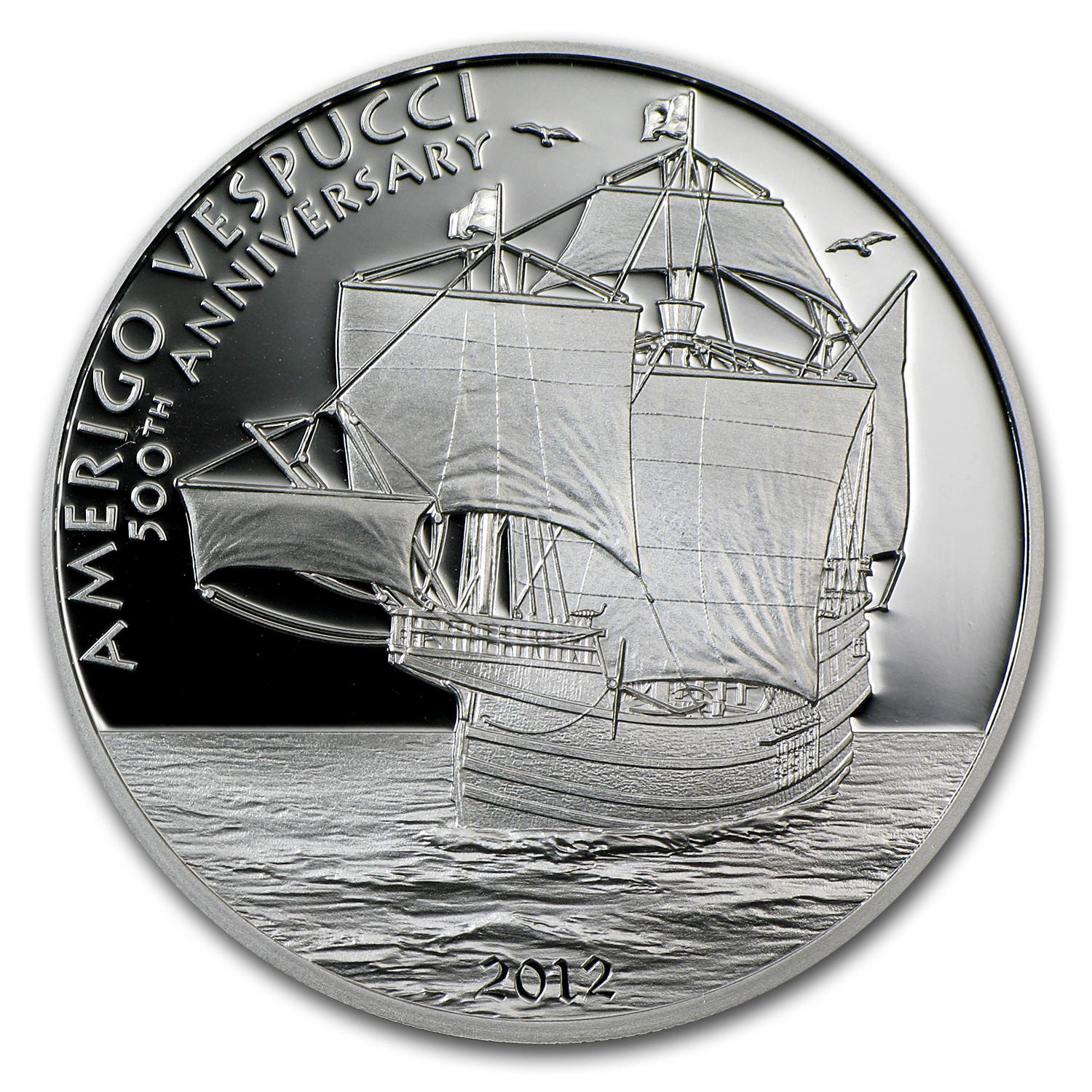 2012 Cook Islands Proof Silver $5 Amerigo Vespucci 500th Anniv