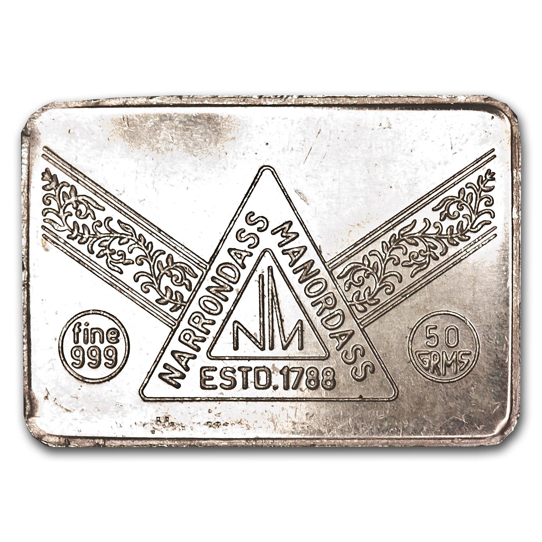 50 Gram Silver Bar Narrondass Manordass Mumbai India