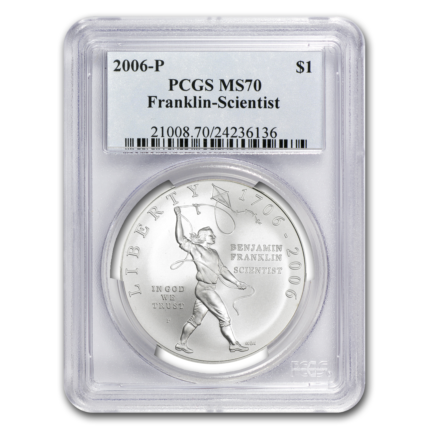 2006-P Ben Franklin Scientist $1 Silver Commem MS-70 PCGS