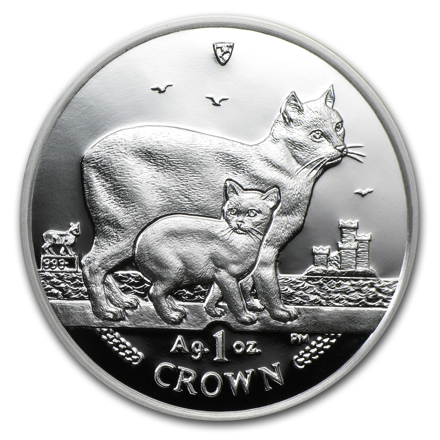 Isle of Man 2012 1 Crown Silver Proof Manx Cat