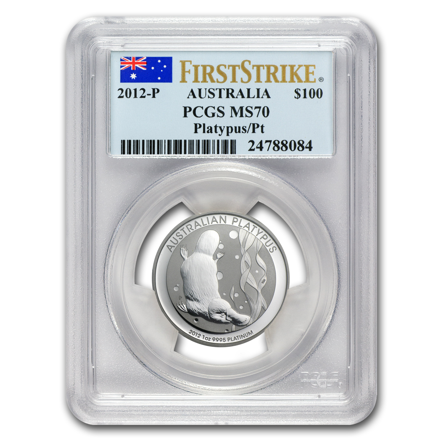 2012 Australia 1 oz Platinum Platypus MS-70 PCGS (First Strike)