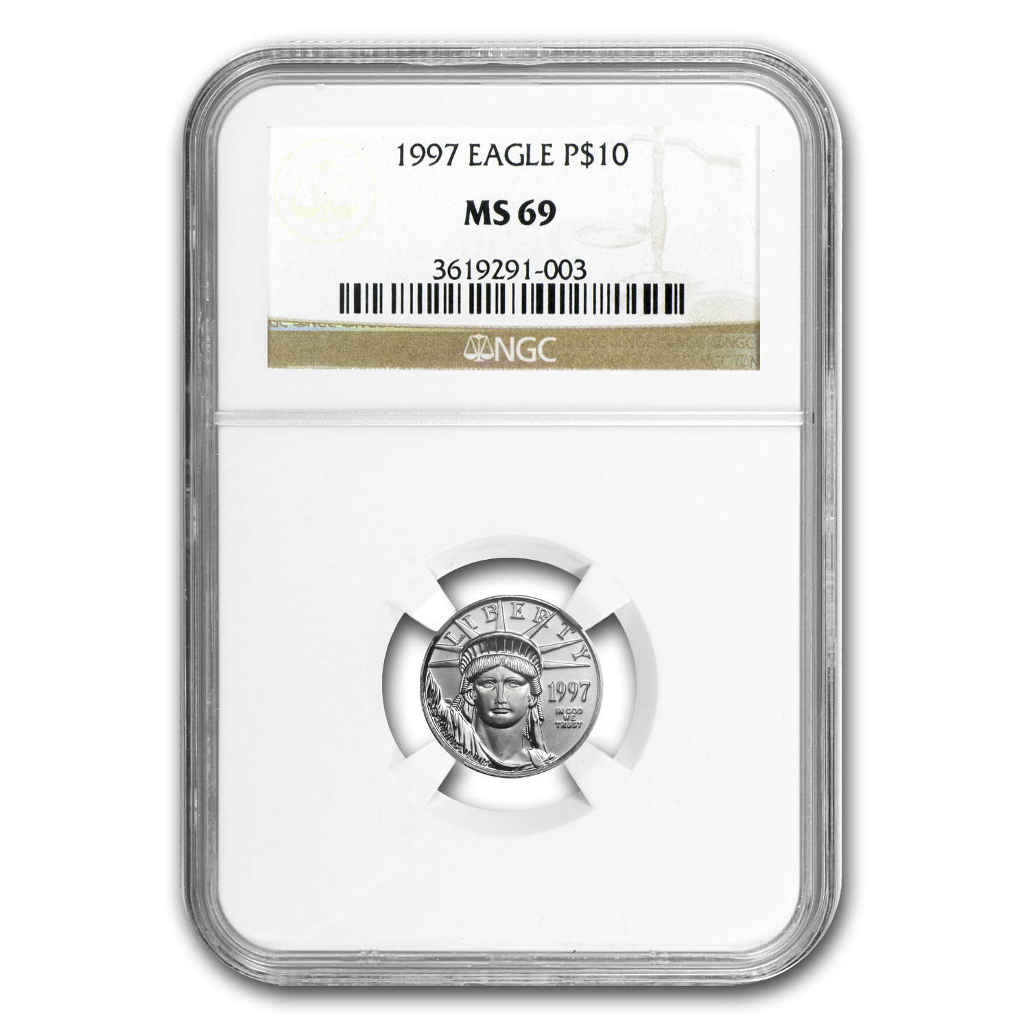 1997-2008 12-Coin 1/10 oz Platinum American Eagle Set MS-69 NGC