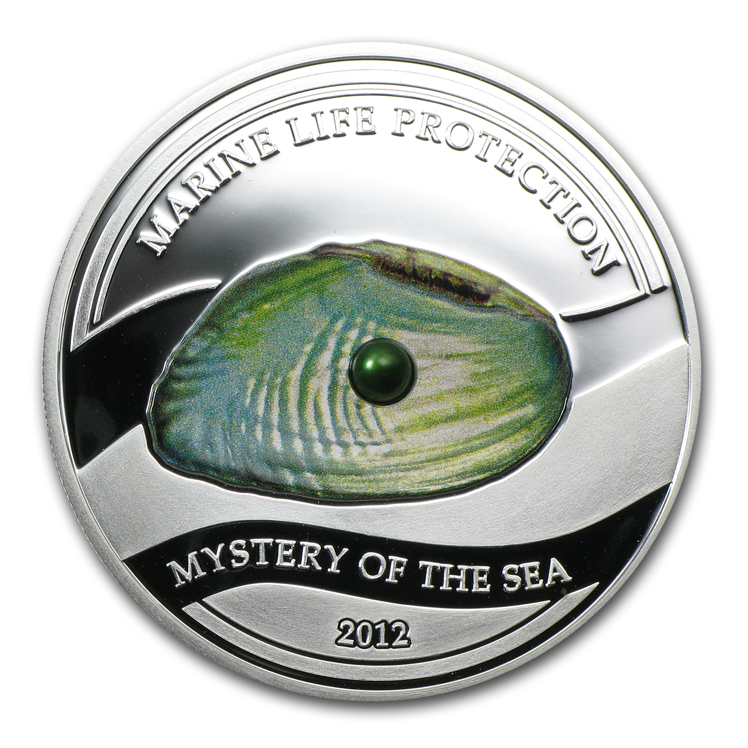 2012 Palau Silver $5 Mystery of the Sea Green Freshwater Pearl