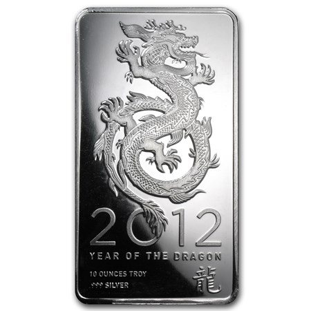 10 Oz Silver Bar 2012 Year Of The Dragon 10 Oz Silver