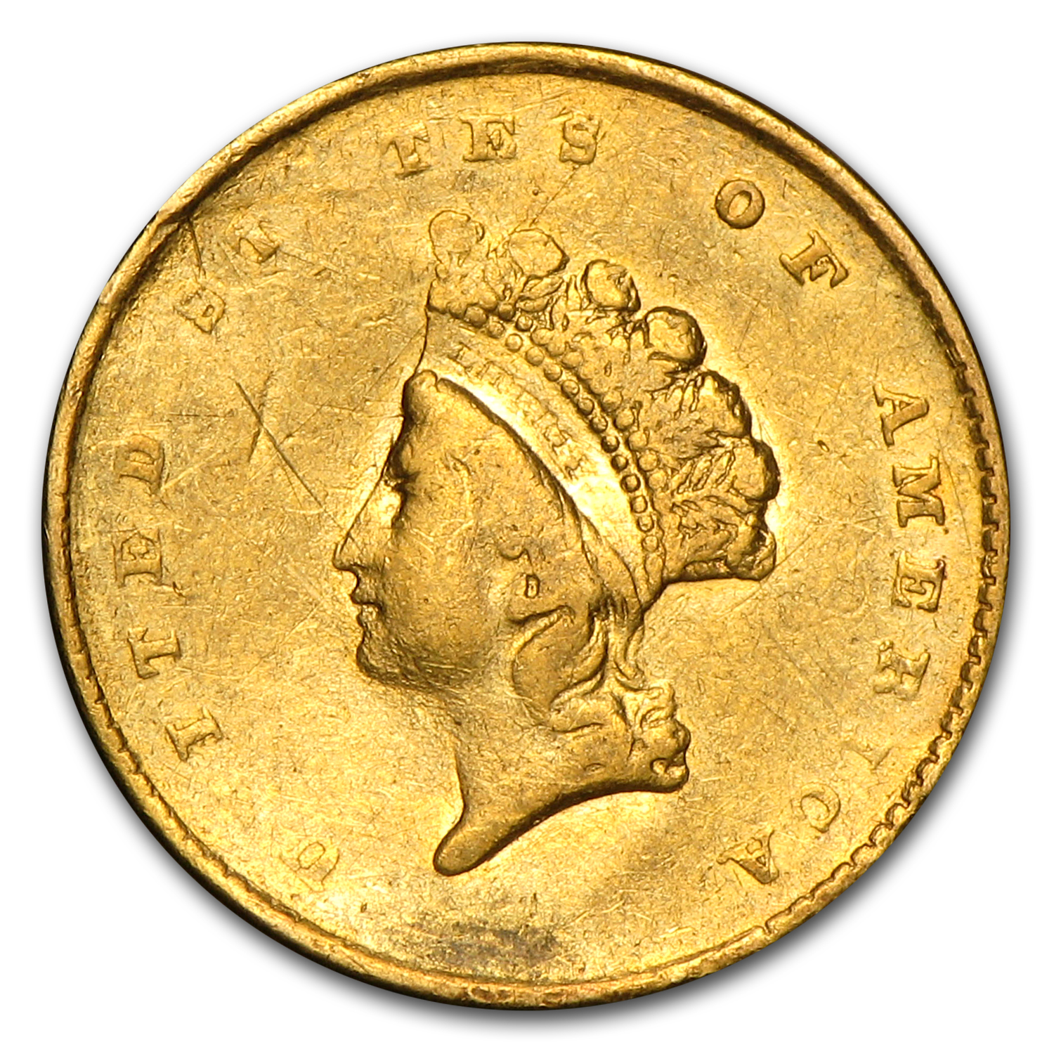 $1 Indian Head Gold Type 2 (Heavily Damaged)
