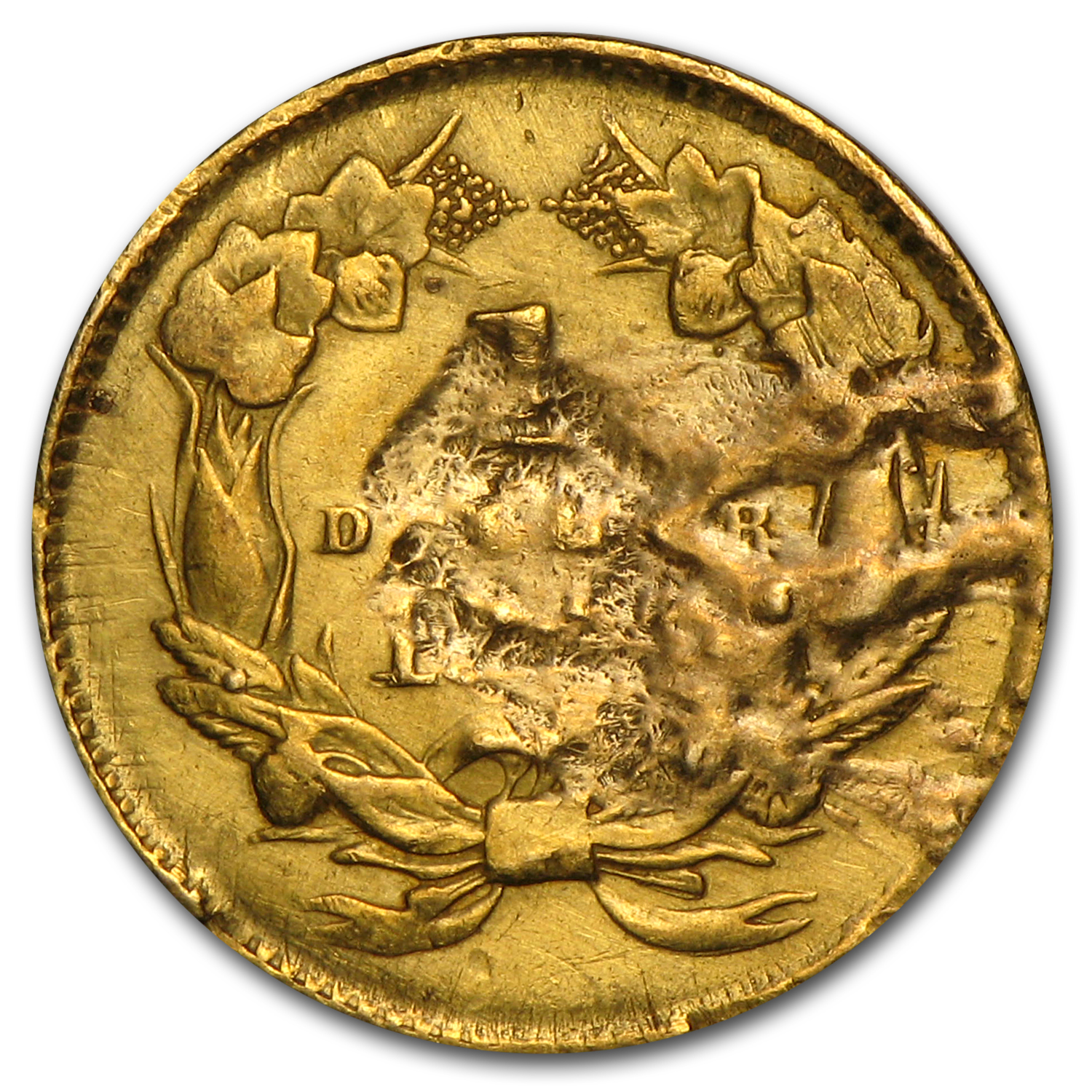 $1 Indian Head Gold - Type 2 - Heavily Damaged