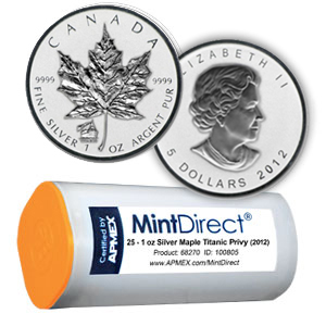 2012 Rev Prf Silver Maple Leaf Titanic (25-Coin MintDirect® Tube)