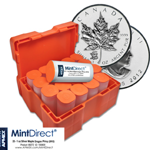 2012 Silver Maple Leaf Dragon Privy (25-Coin MintDirect® Tube)