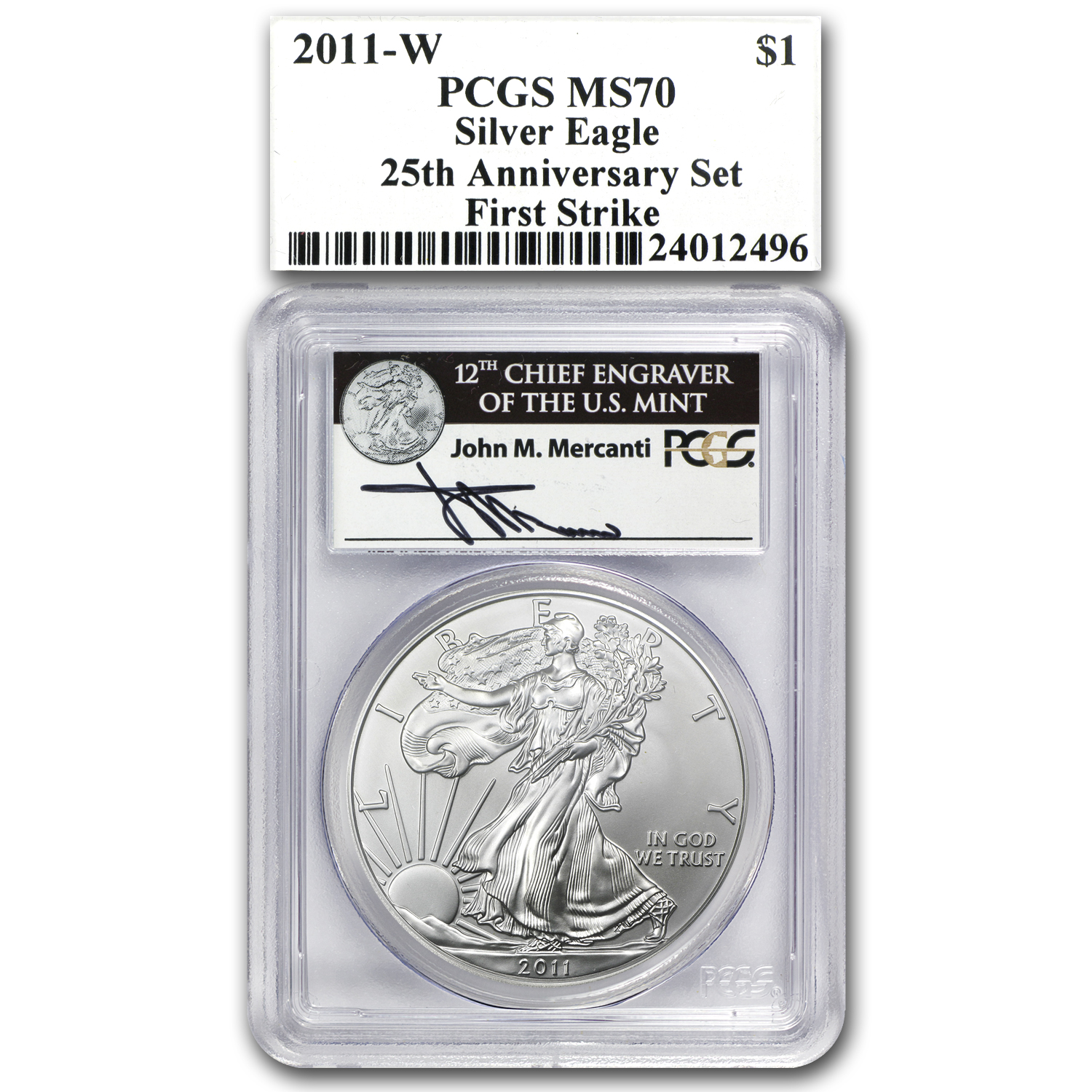 2011 5-Coin Silver Eagle Set MS/PR-70 PCGS (FS, Mercanti, 25th)