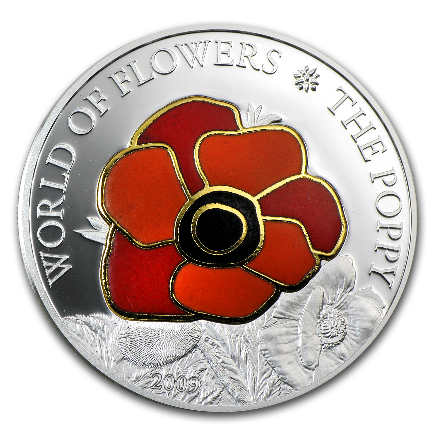2009 Cook Islands Prf Silver World of Flowers Poppy in Cloisonné