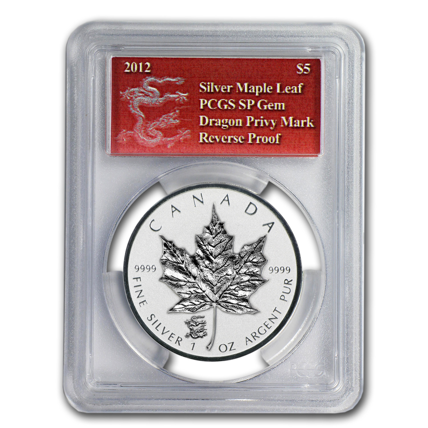 2012 1 oz Silver Canadian Maple Leaf Dragon Privy - SP-69 PCGS