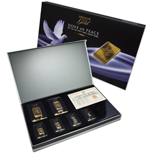 2.0949 oz Dove of Peace Gold 6 Bar Set w/Matching Serial Numbers