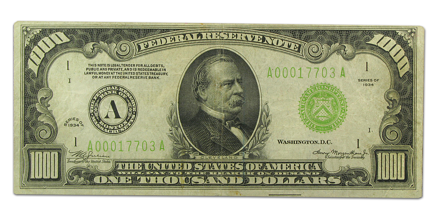 1934 (A-Boston) $1,000 FRN - (Very Fine) LGS