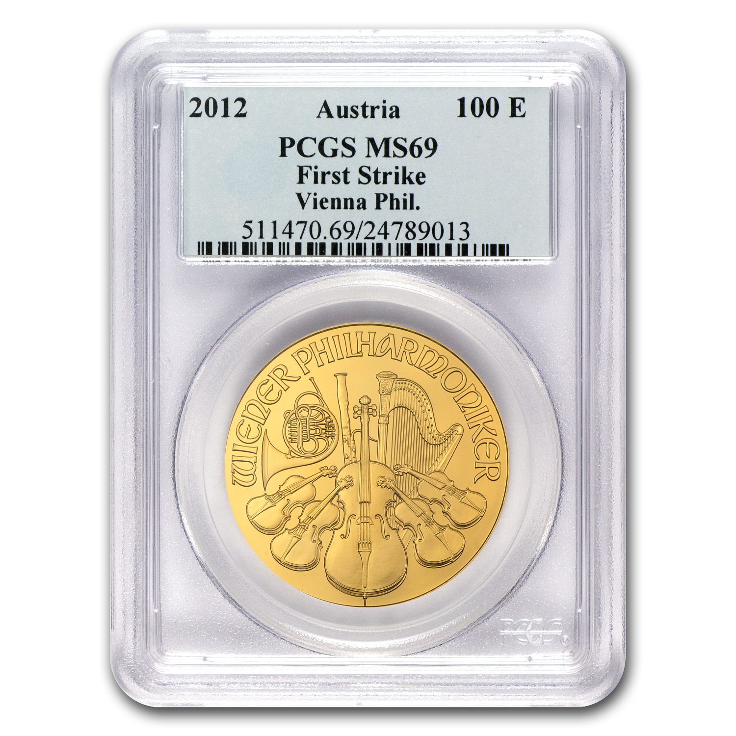 2012 1 oz Gold Austrian Philharmonic MS-69 PCGS (FS)