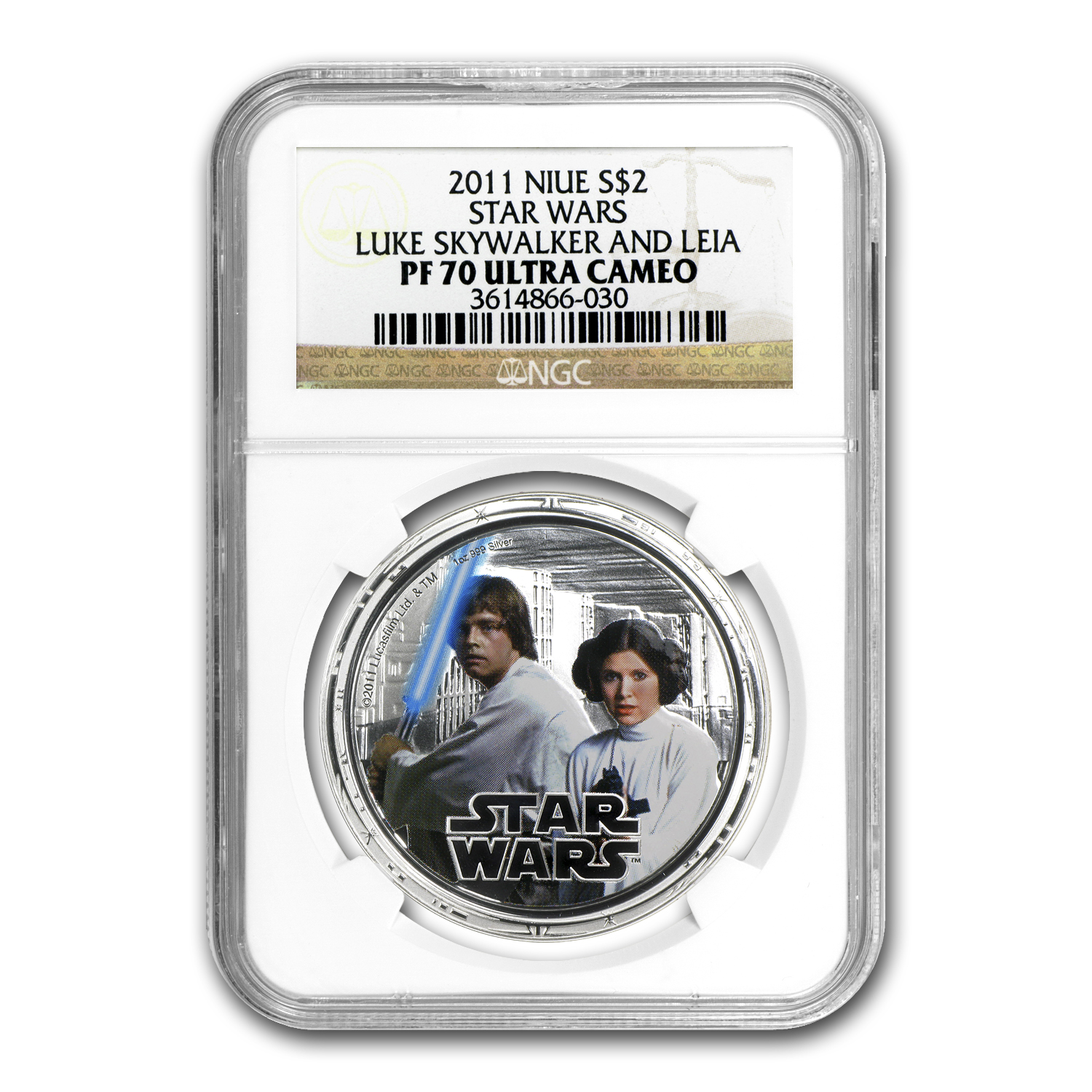 2011 Niue 1 oz Silver $2 Star Wars Luke Skywalker/Leia PF-70 NGC