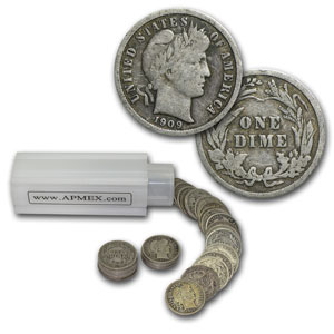 90% Silver Barber Dimes $5 50-Coin Roll Fine/Better