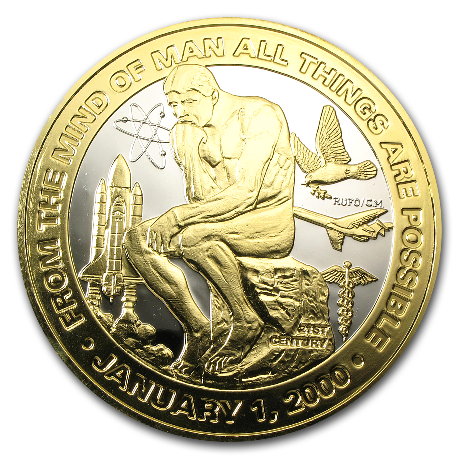 6 oz Silver Round - Millenium Thinker (Gilded/Plated)