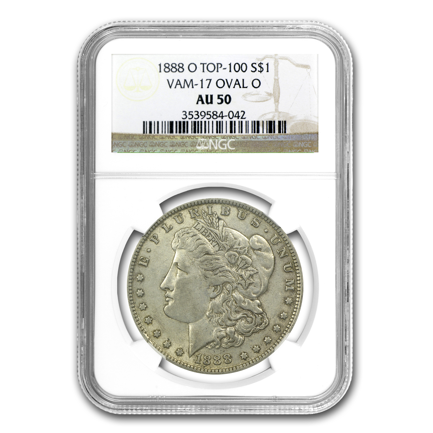 1888-O Morgan Dollar AU-50 NGC (VAM-17, Oval O, Top-100)