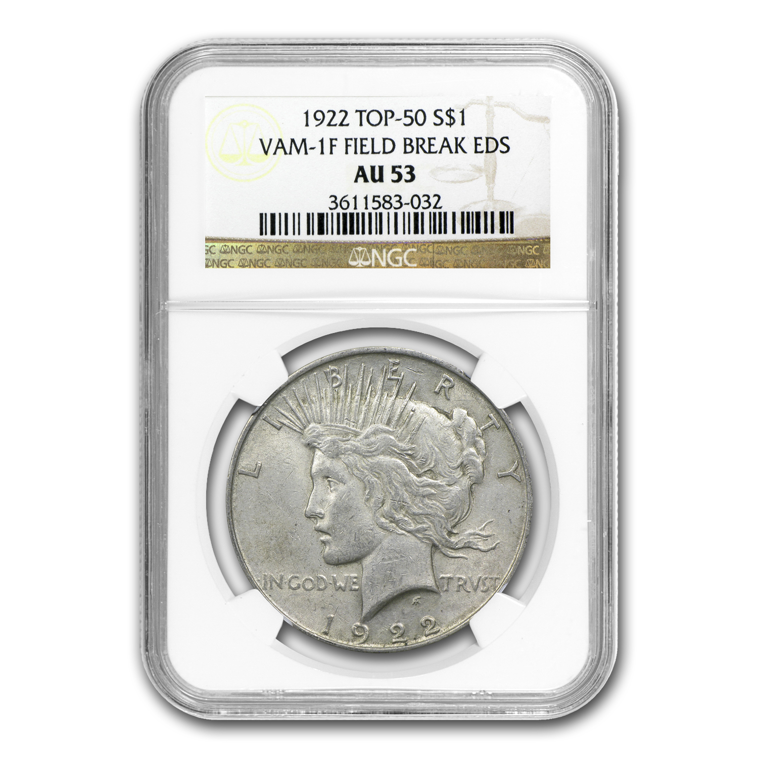 1922 Peace Dollar AU-53 NGC - VAM-1F EDS Field Die Break (Top-50)