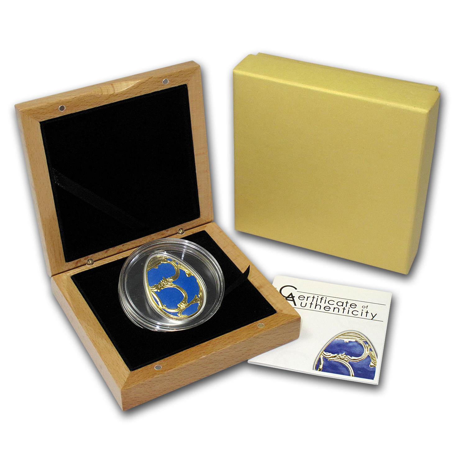 2010 Cook Islands Proof Silver Imperial Egg in Cloisonné Blue