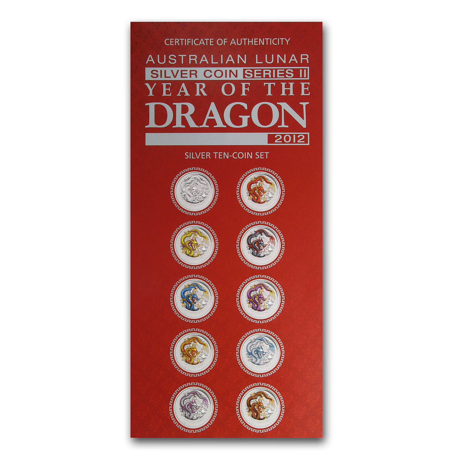 2012 Australia 10-Coin 1 oz Silver Dragon Set BU (Colorized)