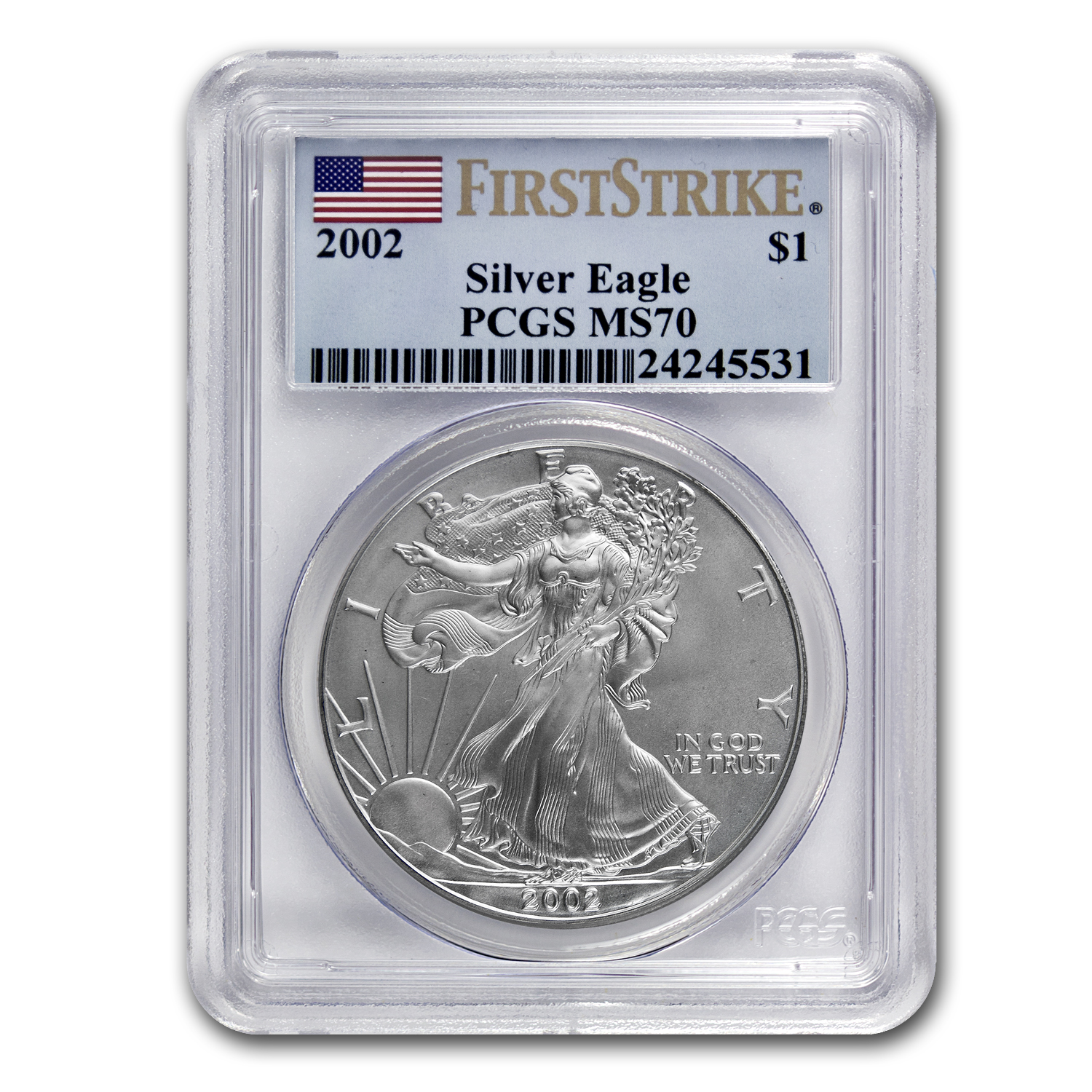 2002 Silver American Eagle MS-70 PCGS (1st Strike, Registry Set)