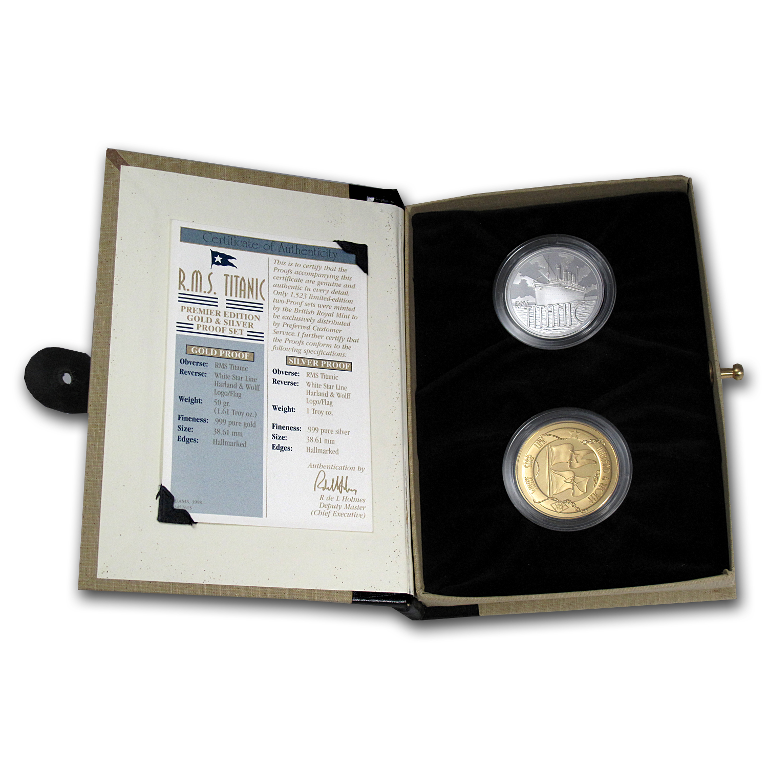 RMS Titanic Gold & Silver Medallion Set (w/Box & COA)