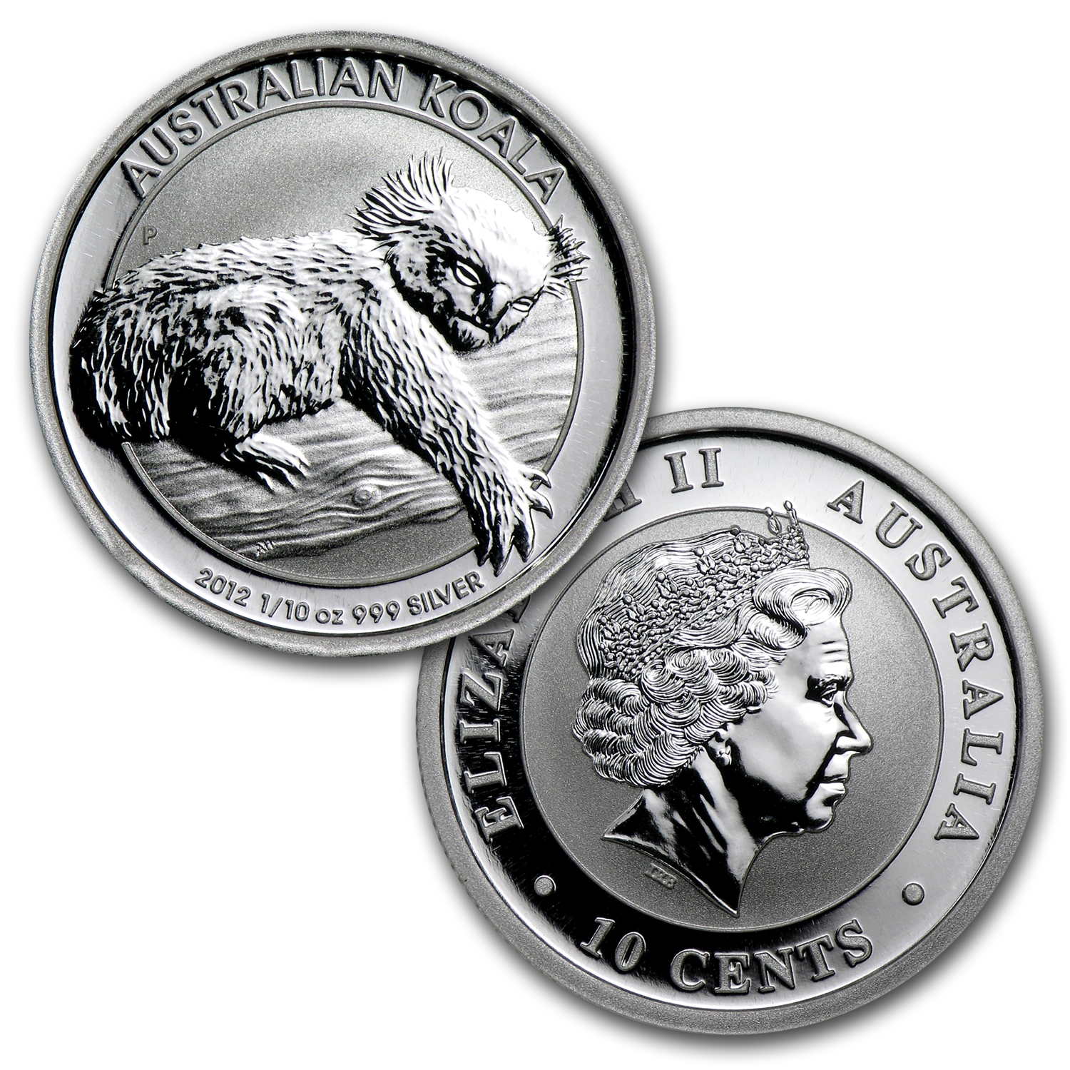 2012 Australia 1/10 oz Silver Koala BU (In display card)