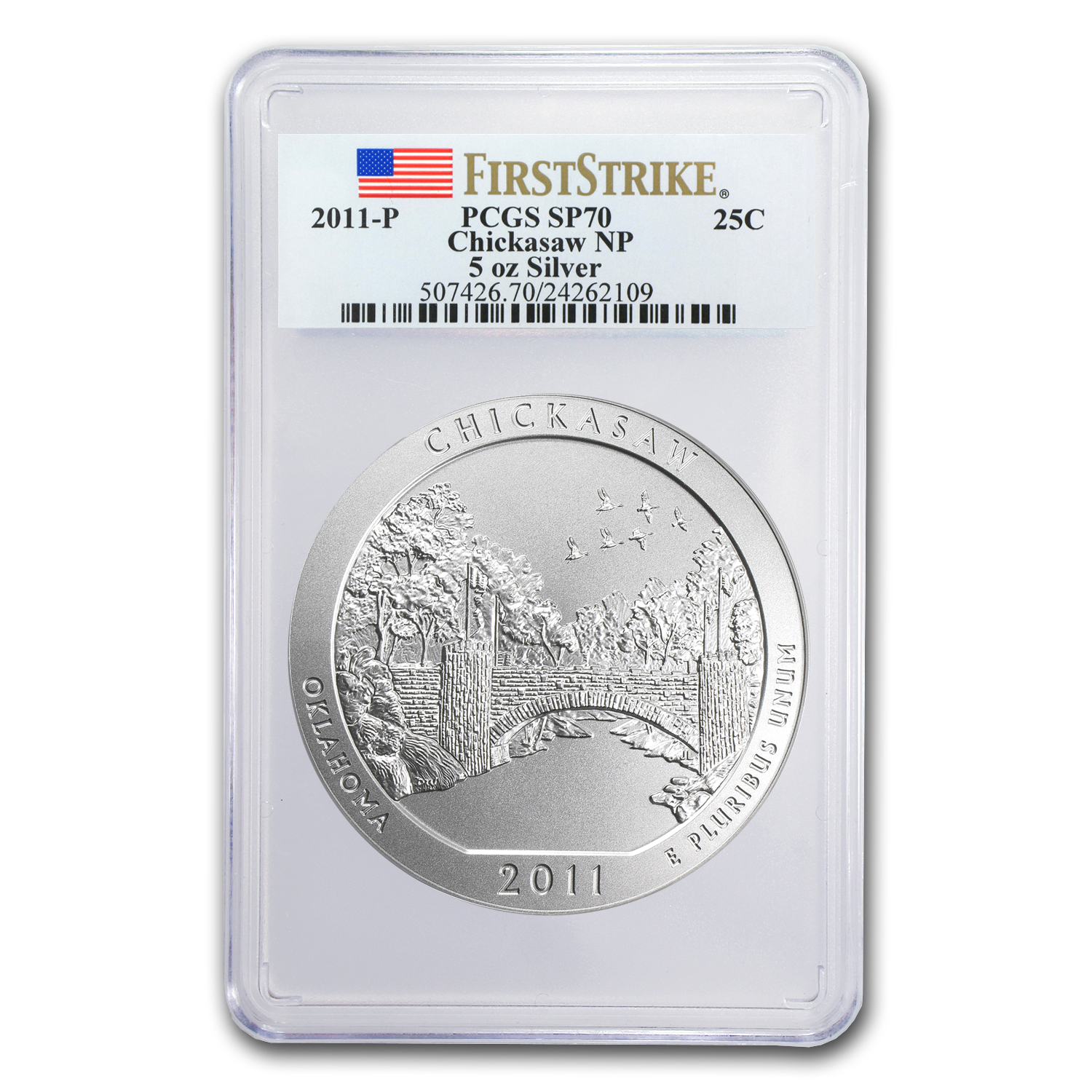2011-P 5 oz Silver ATB Chickasaw SP-70 PCGS (First Strike)
