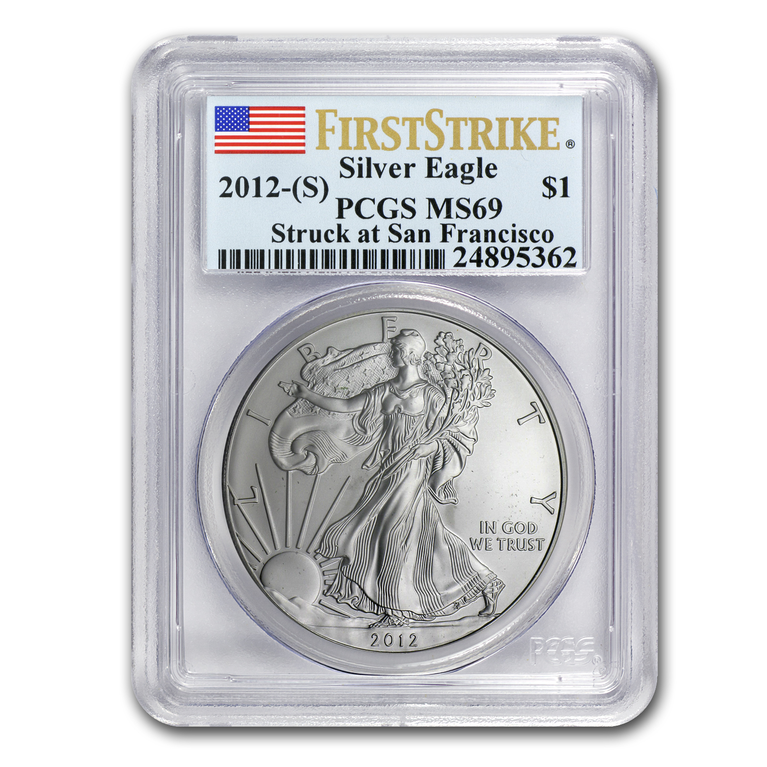 2012 (S) Silver American Eagle MS-69 PCGS (First Strike)